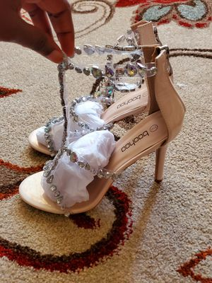 Beautiful patent embellished heels sandals / and Asymmetric slider for Sale in Adelphi, MD