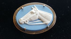 Vintage Symmetalic Blue Horse Cameo Jasper Brooch 14k Solid Gold and 925 Sterling Silver for Sale in Compton, CA