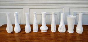 Nine Vintage Milk Glass Vases for Sale in Jonesboro, AR