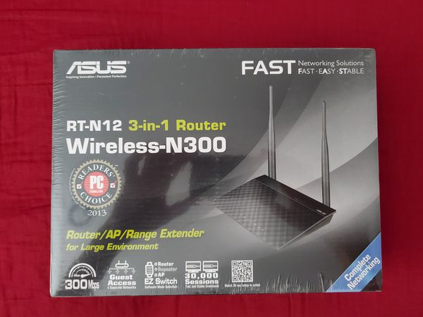ASUS RT-N12 N300 WiFi Router 2T2R MIMO Technology, 4K HD Video Streaming, VoIP, Up to 300 Mbps, Black BRAND NEW AND FACTORY SEALED.