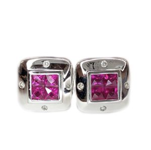 18K White Gold Diamond & Ruby Earrings for Sale in Buena Park, CA