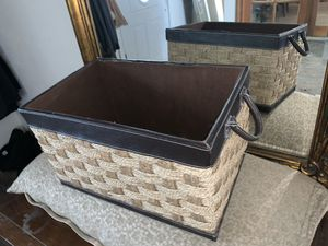 Leather/ knitted storage container for Sale in Dallas, TX
