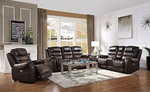 Real Leather Power Reclining Sofa Set Brand New for Sale in Tomball, TX