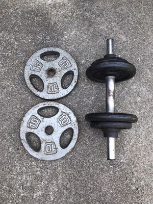 Dumbbell with 36 lbs of weight plates. for Sale in Alpharetta, GA