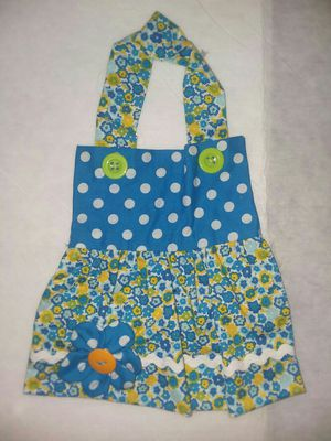 New Handmade Apron Dress Girl Baby Bib 0-6mo Blue Yellow Flowers for Sale in Affton, MO