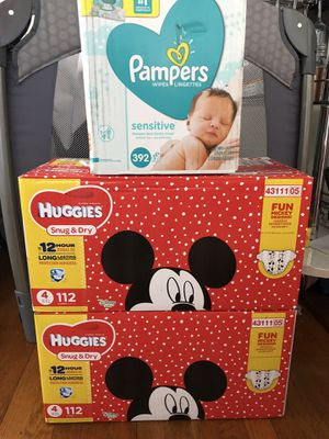 Huggies diapers size 4 plus pampers sensitive baby wipes for Sale in Oakland, CA