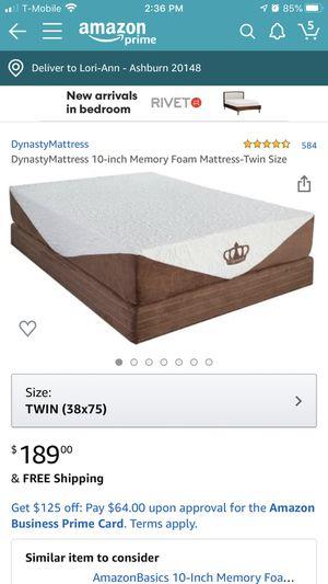 Pair of DynastyMattress 10-inch Memory Foam Mattress-Twin Size (2) for Sale in Ashburn, VA