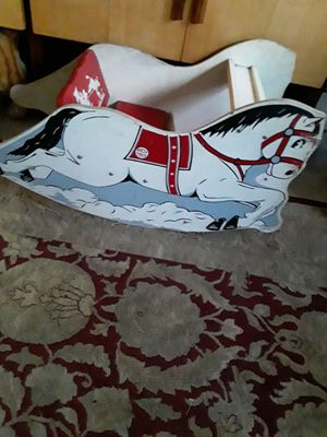 Antique russ red and white toys rocking horse for Sale in Addison, IL