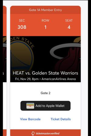 Miami Heat vs Golden State Warriors tickets Nov.29th for Sale in Miami, FL
