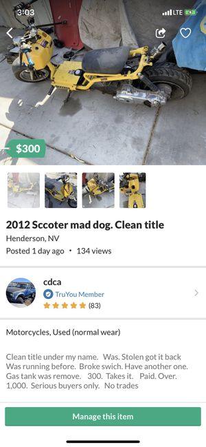 Sccoter. 49cc. Mad dog title for Sale in Las Vegas, NV