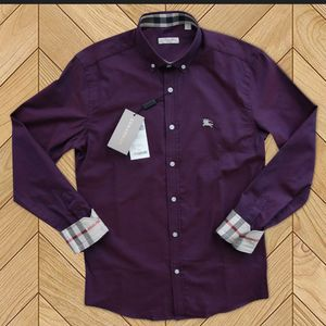 BURBERRY SHIRT FOR MEN WITH STYLE PPURPLE COLOR CHECKED ON SLEEVES LONG SLEEVES BRAND NEW-with Burberry Bag for Sale in Seattle, WA