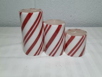LOT OF 3 GLITTER CANDY CANE PILLAR CANDLES Peppermint Twist for Sale in Columbus,  OH