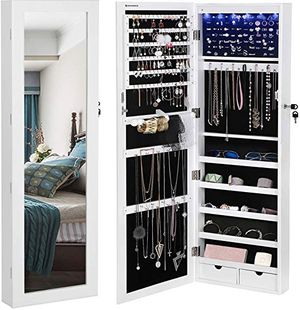 """BRAND NEW SONGMICS 6 LEDs Cabinet Lockable 47.3"""" H Wall/Door Mounted Jewelry Armoire Organizer with Mirror, 2 Drawers, Pure White for Sale in Hialeah, FL"""