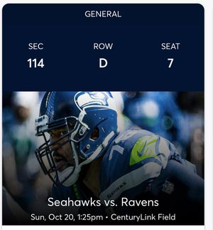 Seahawks vs Baltimore Ravens - only 4 rows from the Field! for Sale in Seattle, WA