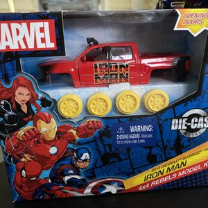 Marvel 4x4 Rebels Die-Cast Model Kits includes Iron Man 2014 Chevrolet Silverado 1500 Z71, Captain America 2019 Ford Ranger, Black Widow Jeep Wrangler for Sale in Bradenton, FL