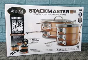 NEW 10 piece Gotham Steel Stackmaster Stackable Pots and Pans for Sale in Farmington, AR