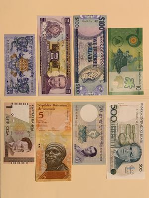 8 PCS World Mix Banknote Set for $12 Currency Money Nicaragua Brazil Guyana Bhutan Honduras Venezuela Kyrgisiztan for Sale in Atlanta, GA