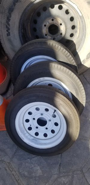 3x 12 inch Rims & Trailer tires 5 lugs Size (4.5 x 5) for Sale in Fresno, CA