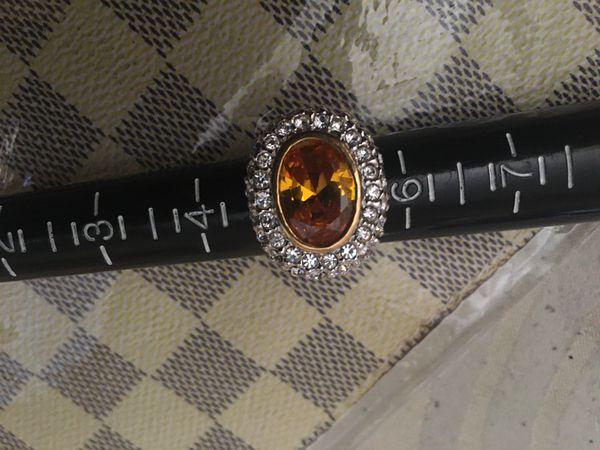 Women Men's custom Ring citrine cz color stone. Size 5