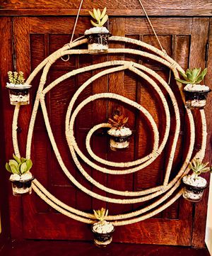 Succulent wall decor boho hand wrapped chic style indoor outdoor plant rustic house warming gift birthday gift circle swirl design cast iron for Sale in Covina, CA