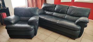Blue leather sofa and chair for Sale in Chino Hills, CA