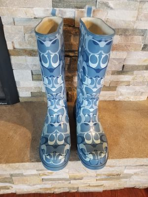 Coach Paisley Blue & Gray Logo Rubber Rain Boots Size 9 M for Sale in Costa Mesa, CA