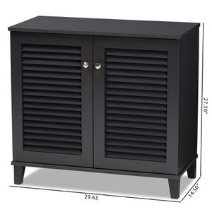 Baxton Studio Coolidge Modern Dark Grey 4-Shelf Shoe Cabinet DESCRIPTION: Store your shoes on the sly with the Coolidge shoe cabinet. Two slatted door for Sale in Sugar Land, TX