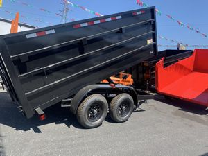 He Dump trailer 8x12x4 10400 lb gvw $5350 carrier concrete or bobcat for Sale in Chino, CA
