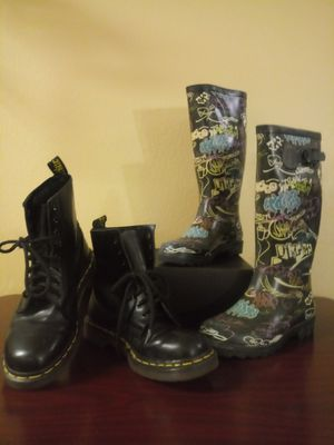 Art Deco Rain Snow Boots + Black Dr Martens for Sale in Wauwatosa, WI