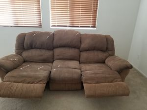 Brown suede couch with double recliners. for Sale in Murrieta, CA
