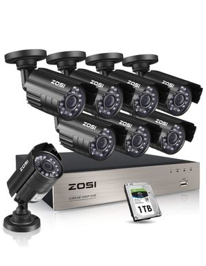 ZOSI 8CH 1080P Security Cameras System,8pcs 1080P Indoor Outdoor 1920TVL Weatherproof Surveillance Cameras, 8-Channel 1080P HD-TVI CCTV DVR System wi for Sale in Houston, TX