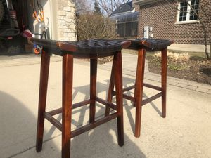 Two Nice Wooden Stools with Leather Seats for Sale in Naperville, IL