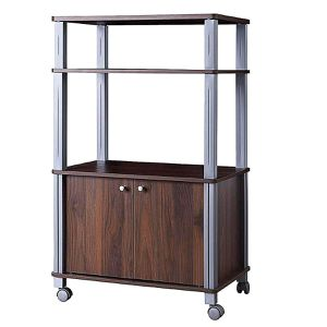 FREE SHIPPING)) 3-Tier Trolley Microwave Oven Shelving Unit Stand Rolling Cart Kitchen Walnut Wood Grain Style With Wheels Pantry Storage for Sale in San Diego, CA