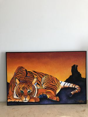 Large Beautiful Tiger Picture Oil Painting on a Canvas for Sale in Lake Worth, FL