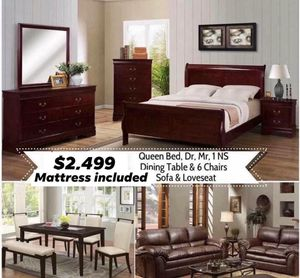 3 ROOMS TODAY'S SPECIAL INCLUDED QUEEN BED FRAME DRESSER MIRROR AND ONE NIGHT STAND ( not mattress included) 5 pieces Dinning set and Sofa and Loves for Sale in Chino, CA