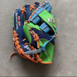 Kids Franklin left-handed baseball glove Orange blue green for Sale in San Diego,  CA