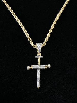 EXCLUSIVE NAIL CROSS 18K GOLD FULL DIAMONDS CZ NEW CHAIN MADE IN ITALY! ⭐️ BLACK FRIDAY EXTENDED ALL WEEK SALE!!!!! ⭐️ for Sale in Riviera Beach, FL