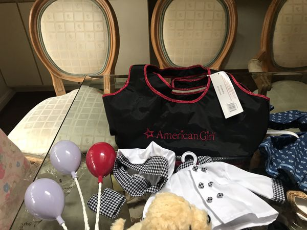 AMERICAN girl doll accessories, stroller, carry bag, books and clothes