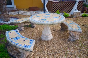 Concrete Mosaic Table and Benches, Garden Set, Patio Furniture, Outdoor Patio Furniture for Sale in Fort Lauderdale, FL