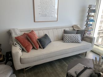 Linen sofa with paneled back and brass legs for Sale in Los Angeles,  CA