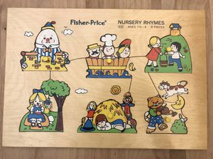 Vintage 1970's Fisher Price Wood Puzzle NURSERY RHYMES 510 Ages 1.5 - 4, 6 Pieces for Sale in Hillsboro, OR