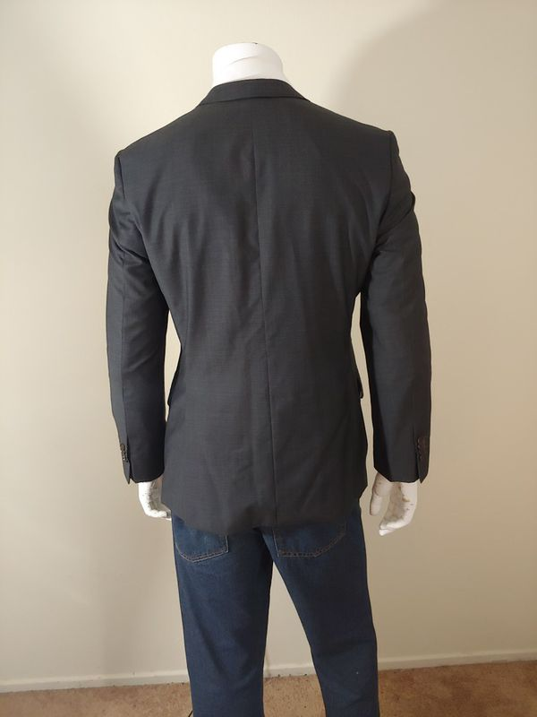Hugo Boss New Edison Power Mens Charcoal Gray Sports Coat 2 Button Blazer Size 38 R