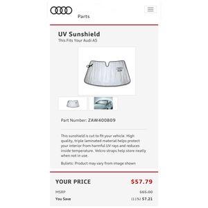 Genuine OEM Audi A5 S5 UV Sunshield Windshield Sun Cover. 2008-2013 Cabriolet, Coupe. ZAW400809 for Sale in Alhambra, CA