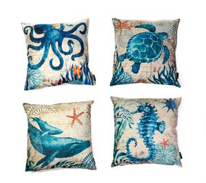 """Sea Life Throw Square Cushion Cover 