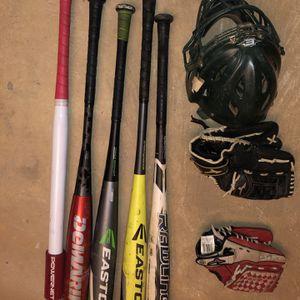 Baseball Bats, 2 Gloves, Catchers Helmet for Sale in Fairfax, VA