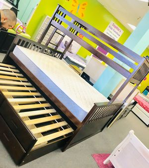 Twin extra long over queen bunk bed with trundle and drawers for Sale in Glendale, AZ