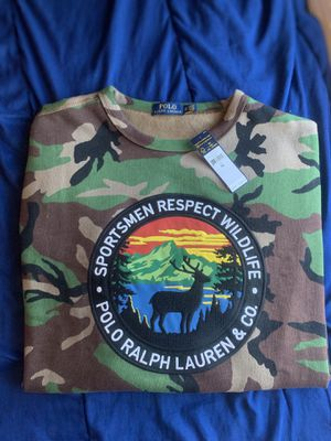polo ralph laureN XL WILDLIFE SPORTSMEN RESPECT CREWNECK CAMO STADIUM 1992 93 hi tech for Sale in Arlington, VA