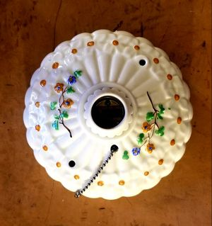 Antique 1920s Porcelier ceiling light fixture, handpainted ivory floral ironstone china. for Sale in Vancouver, WA