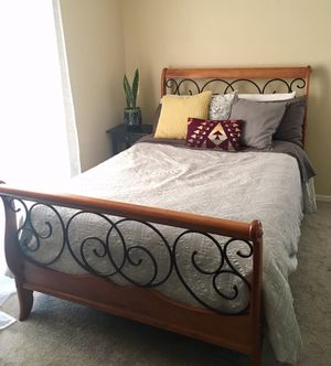 Sleigh Bed Frame (Full) with Box Spring for Sale in San Mateo, CA