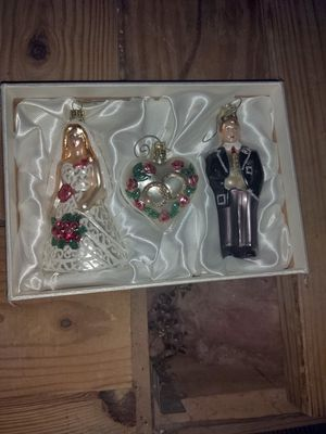 Bride and Groom Christmas ornaments in satin box for Sale in Sugar Land, TX